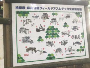 相模原 麻溝公園無フィールドアスレチック全体案内図